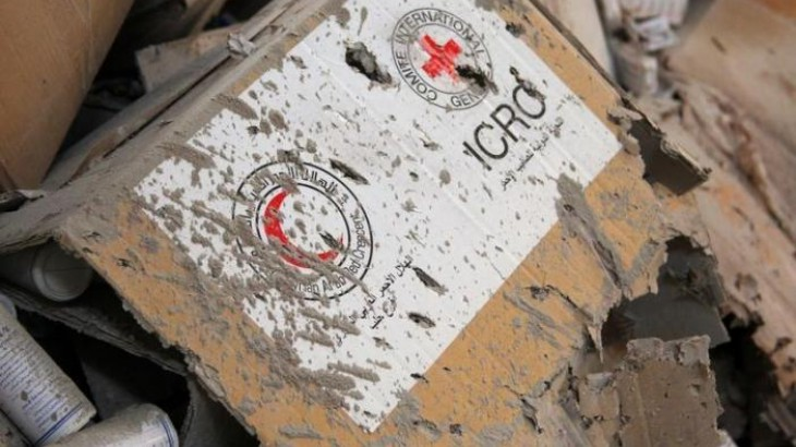 Damaged aid lies inside a warehouse after an attack on Syrian Arab Red Crescent aid convoy in Aleppo, Syria. REUTERS/Ammar Abdullah