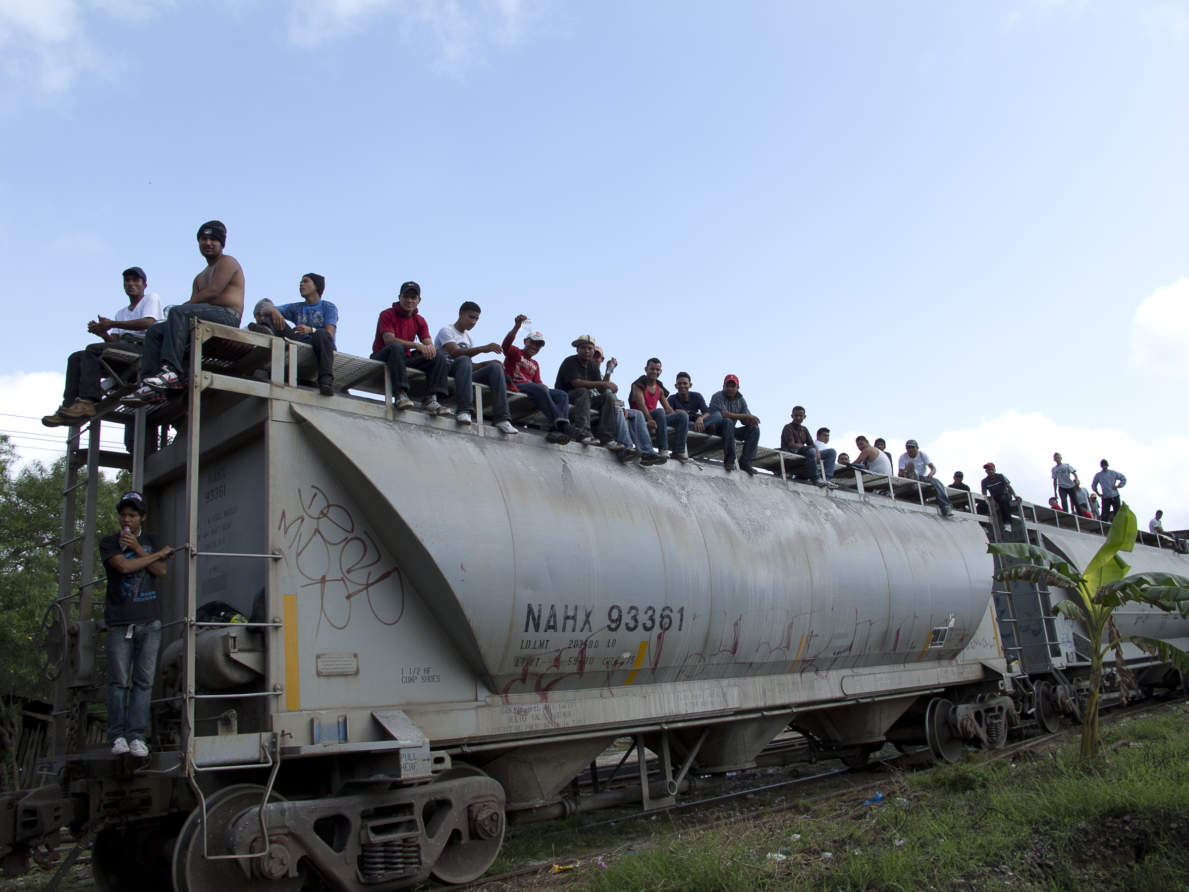 Tenosique, Mexico Central America migrants wait for the departure of the train. Tenosique, some 30 kilometers from the Guatemalan border, is one of the two main gateways for migrants from Central America en route to the United States. Most of the migrants are between 16 and 21 years old.