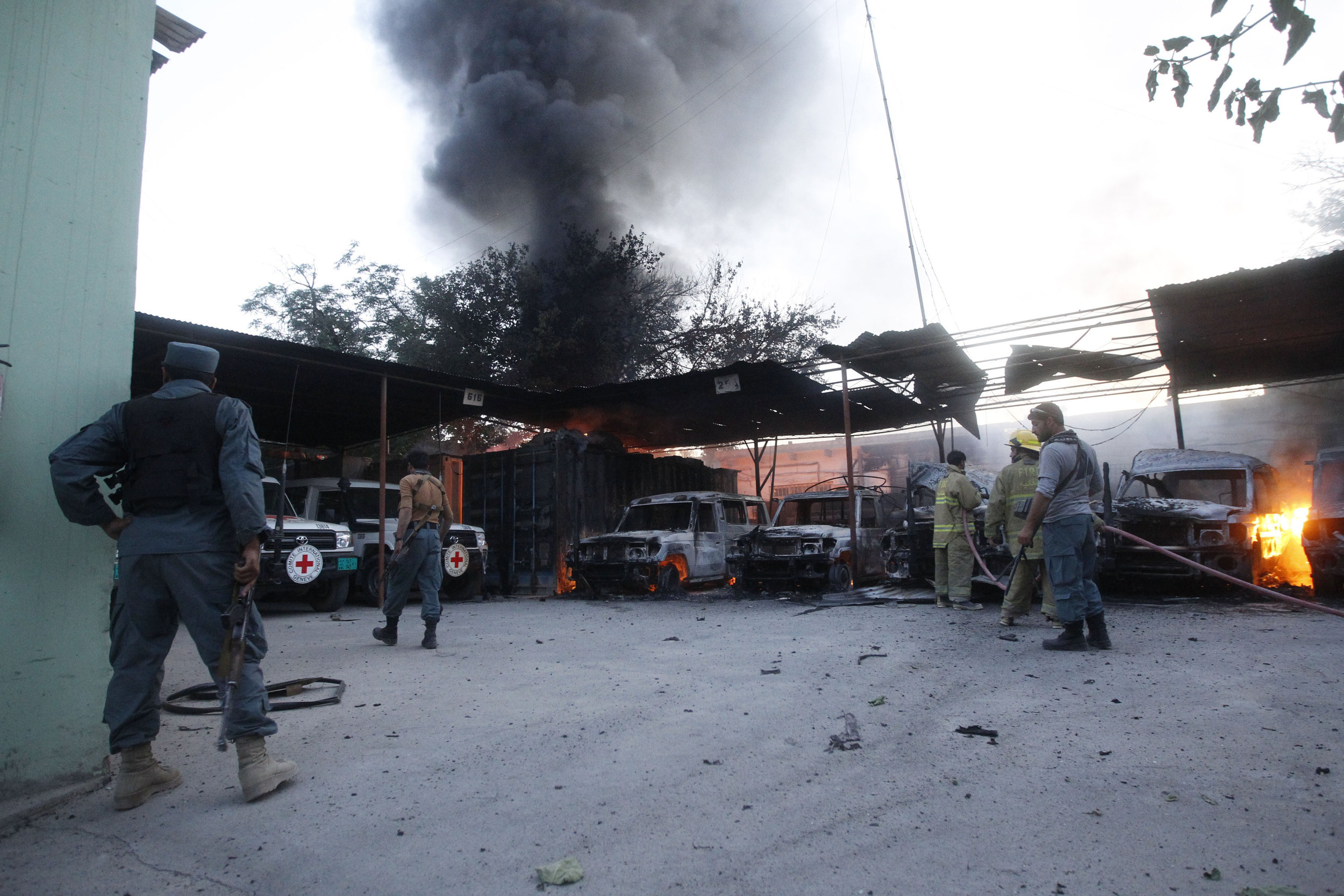 Jalalabad, Afghanistan. The local ICRC office following an attack by unidentified armed men. One staff member, an Afghan guard, was killed and another, an expatriate, was slightly wounded.
