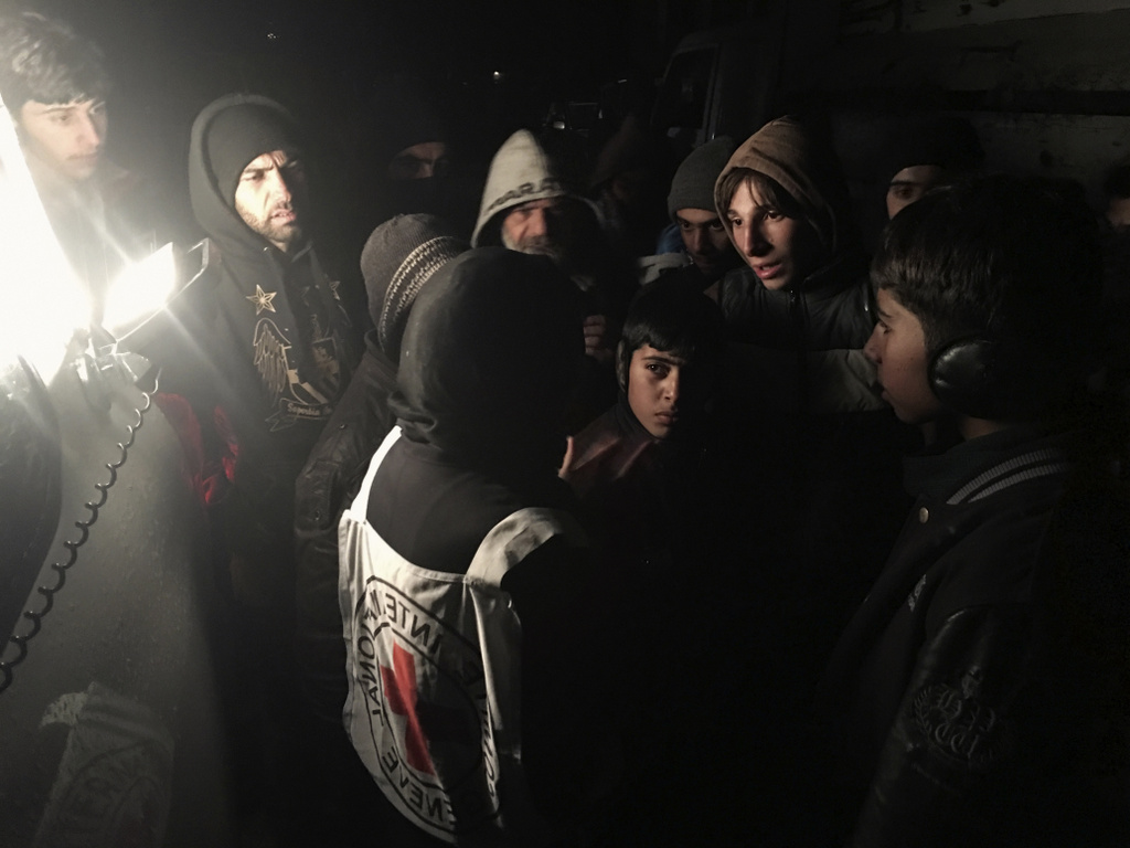 Syria. The ICRC, working alongside the Syrian Arab Red Crescent (SARC) and the United Nations (UN), delivered vital aid to thousands of people living in three besieged areas in Syria, including food, medical items, blankets and other materials.