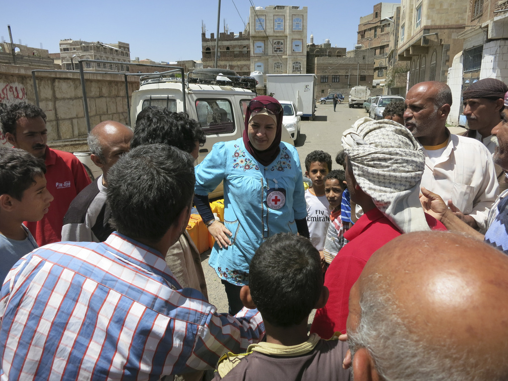 Yemen.The ICRC provides water to families through trucking, as the conflict led people to suffer shortage of it.