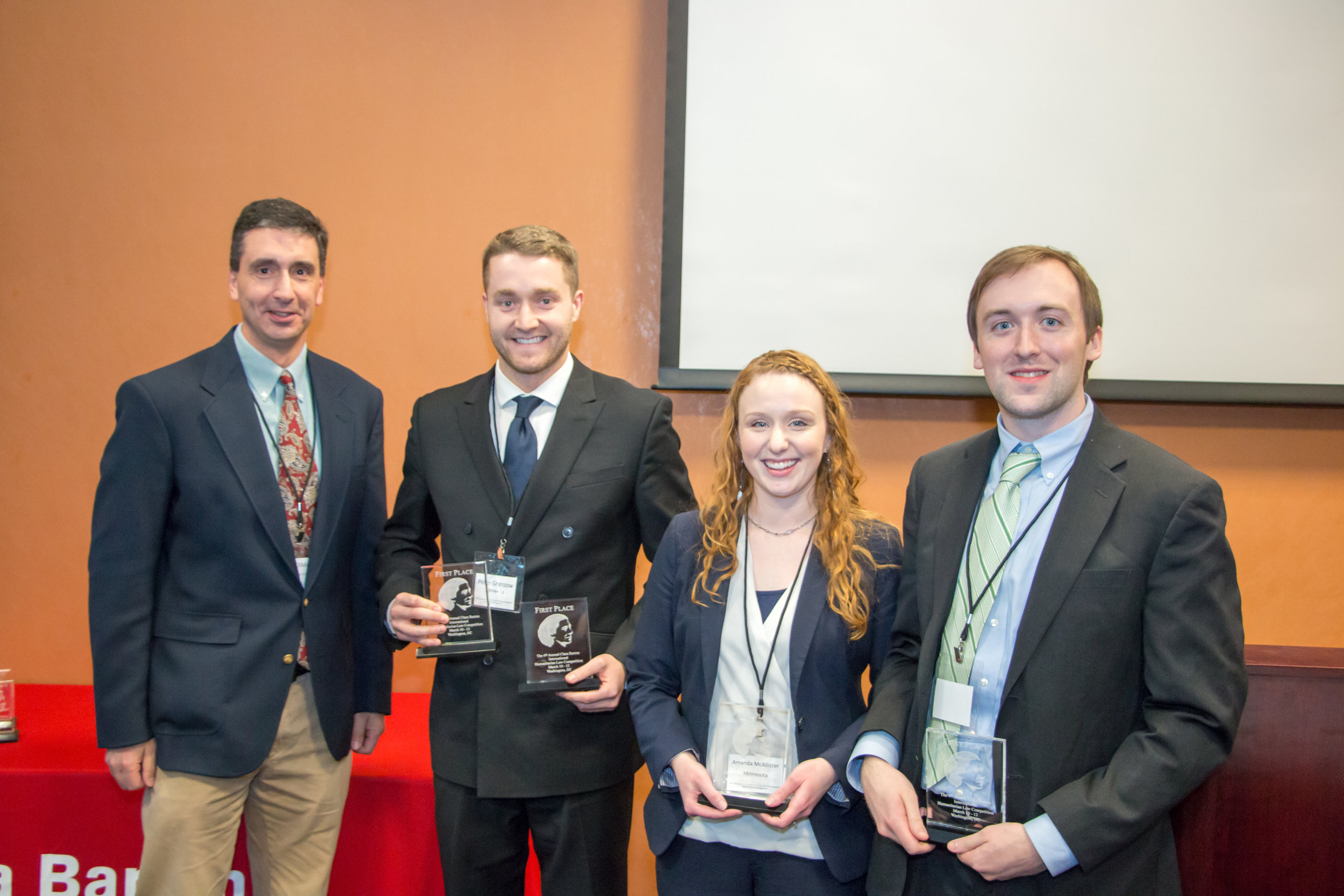 The first place team of the 4th Annual Clara Barton IHL Competition from the University of Minnesota Law School. Joe Gibson/American Red Cross