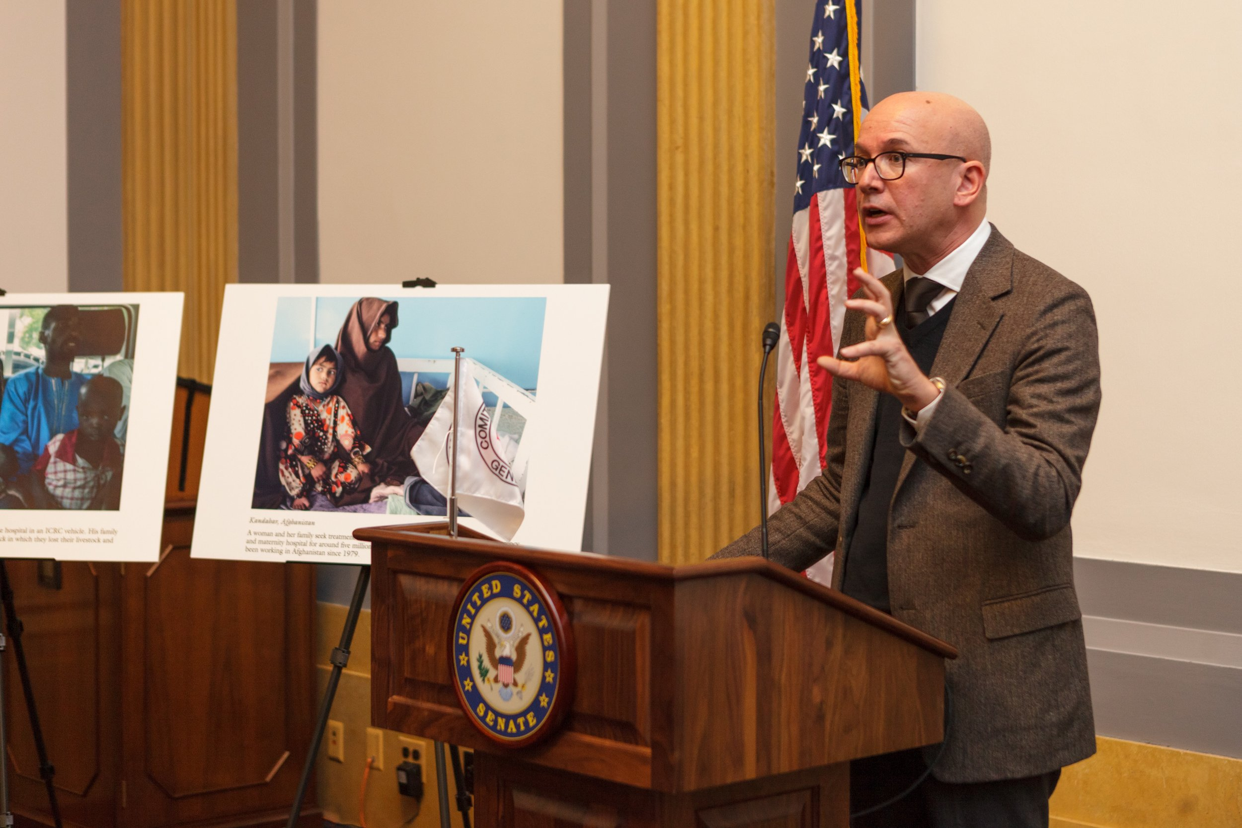 ICRC Director-General Yves Daccord addressing the attendees of the Washington D.C. People on War Survey Launch in December 2016. Leandro Badalotti/ICRC