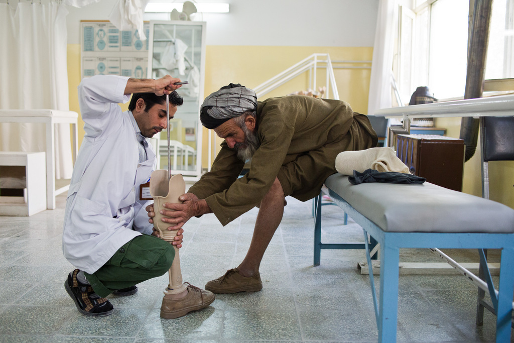Kabul, Afghanistan/   Jacob Simkin, ICRC   Alberto says people injured by war recover much more quickly, when they realize the people helping them are also disabled. At present, practically all of the 800 people the orthopedic center employs are former patients.