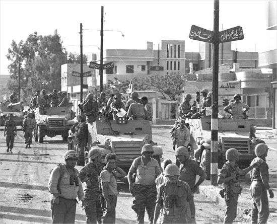 Israeli armoured troop unit entering Gaza during the Six-Day War, June 6
