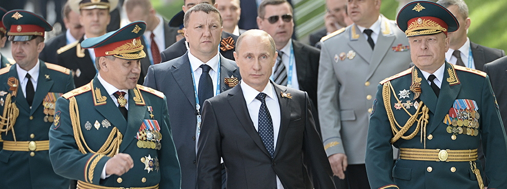 Russian President Vladimir Putin at the Tomb of the Unknown Soldier in Moscow on May 9, 2015 (RIA Novosti via Getty Images)