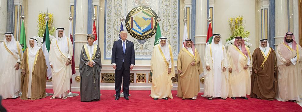 President Trump and Gulf leaders at the GCC Summit in Riyadh, Saudi Arabia on May 21, 2017 (Bandar Algaloud/Saudi Royal Council/Anadolu Agency/Getty Images)
