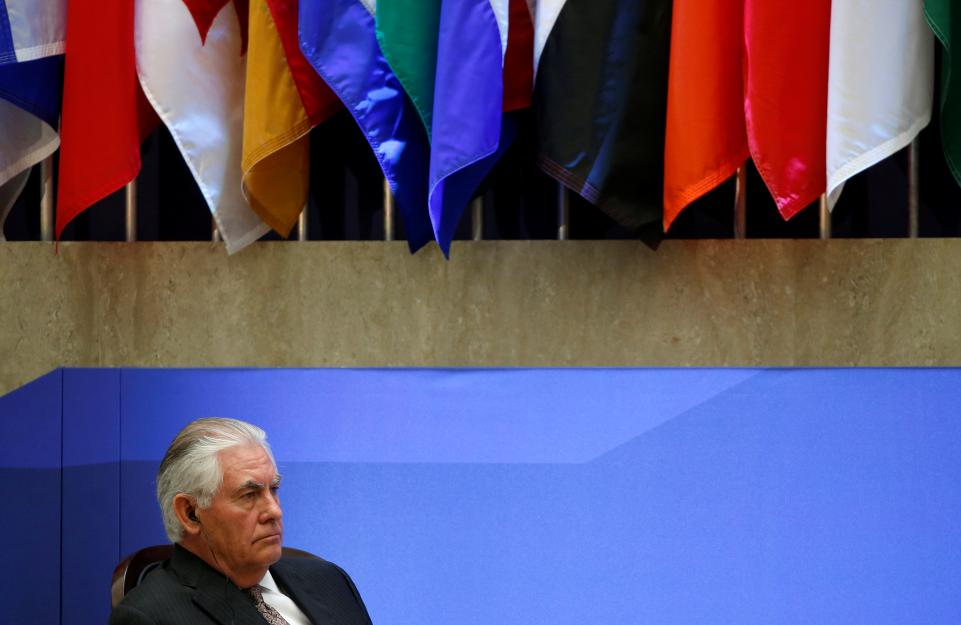 Secretary of State Rex Tillerson during the delegation photo with leaders from Global Coalition working to Defeat ISIS at the State Department in Washington, U.S., March 22. Tillerson's restructuring plan at the State Department has targeted an office that deals with prosecuting war crimes, according to former U.S. officials.JOSHUA ROBERTS/REUTERS