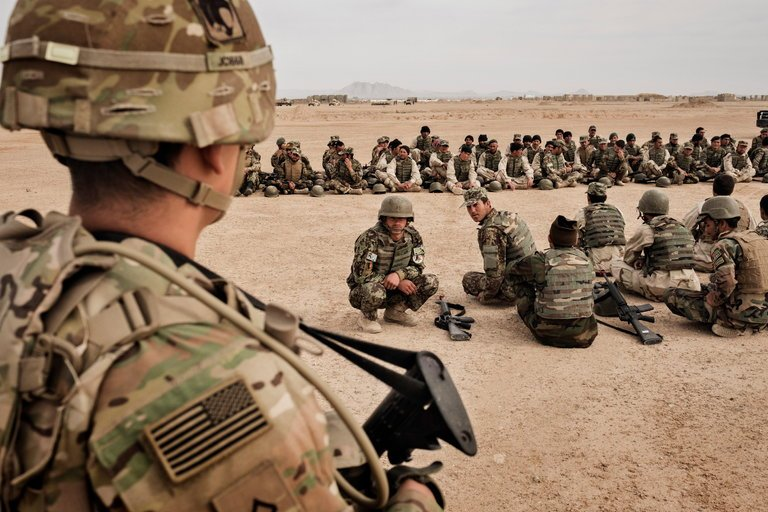 United States Army soldiers overseeing training of the Afghan National Army at Camp Bastion in Helmand Province last year. New York Times.