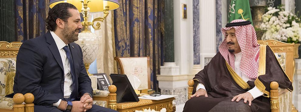 Saudi King Salman receives former Lebanese Prime Minister Saad Hariri, who resigned recently, in Riyadh, November 6, 2017 (Bandar Algaloud / Saudi Royal Council / Handout/Anadolu Agency/Getty Images)