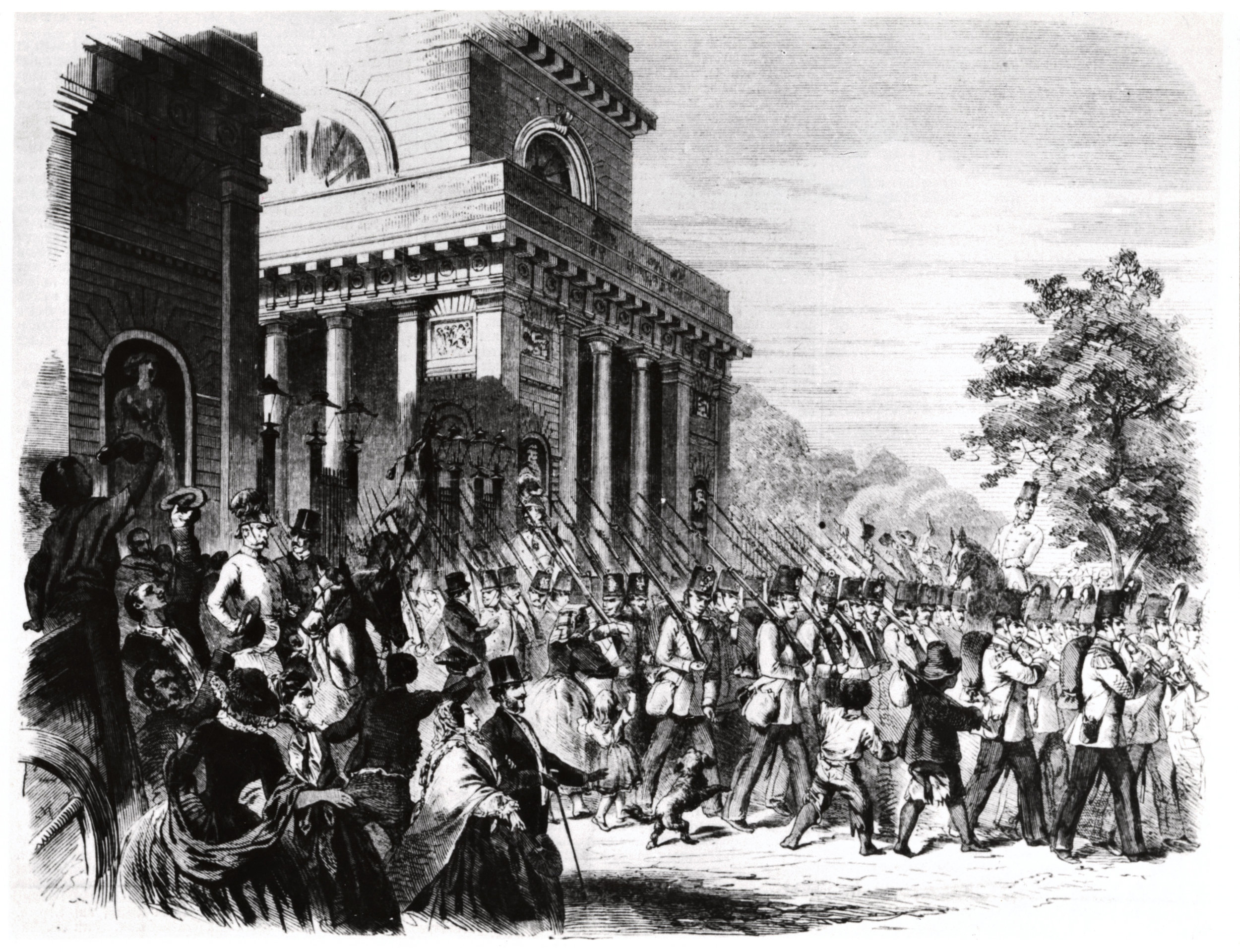 On May 21, 1859, Austrian troops depart for the battlefield from Milan.