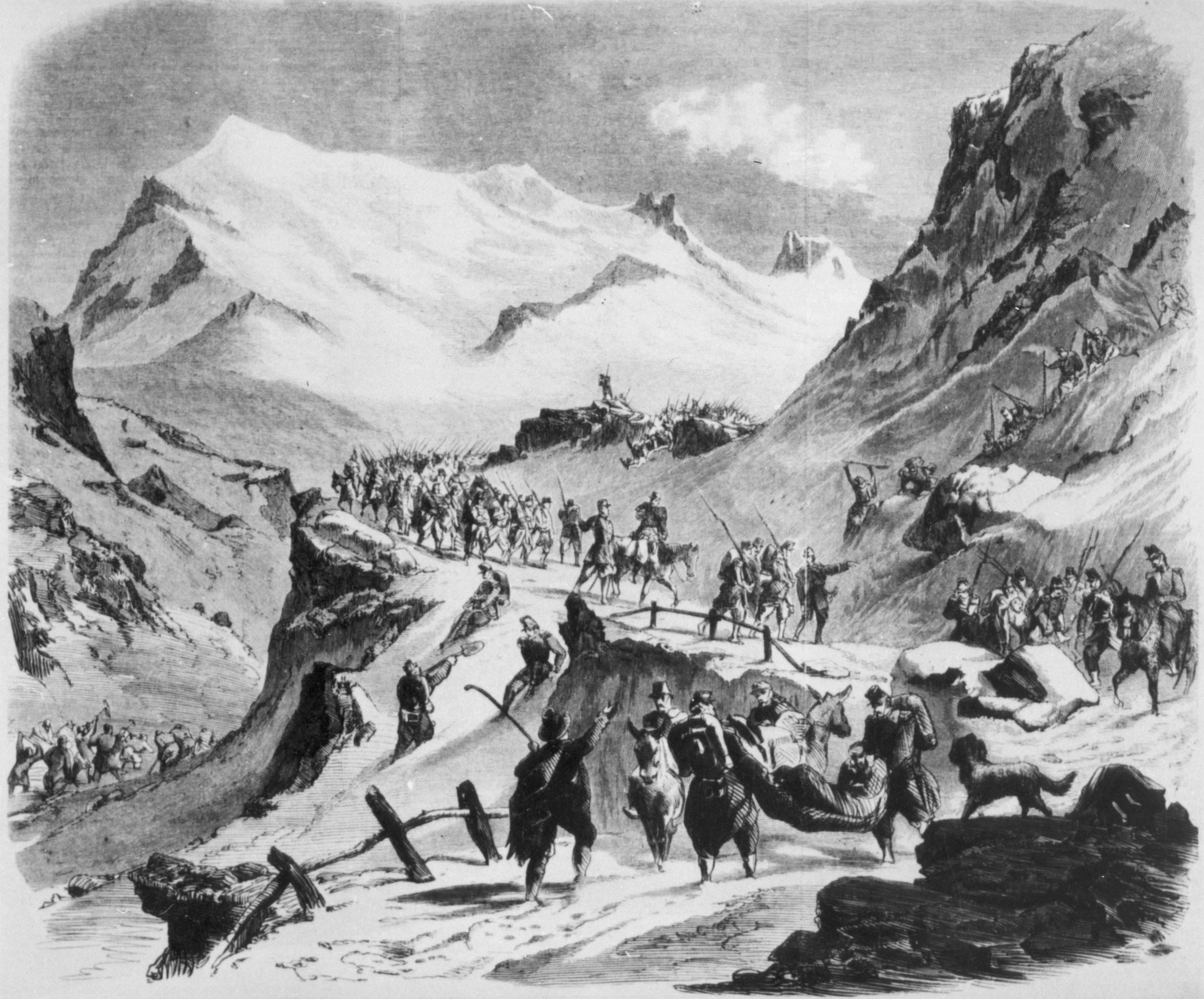 May 28, 1859. The passage of French troops to Mont-Censis heading toward Solferino.