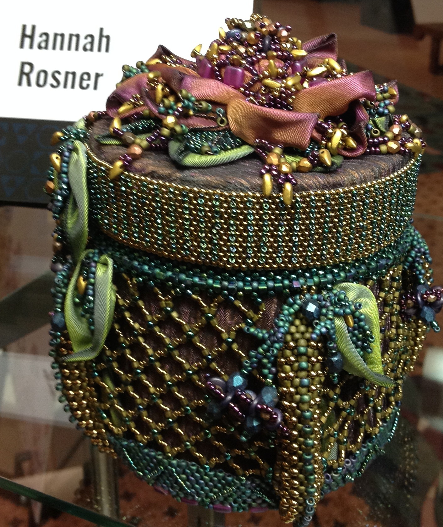 A very nice beaded container by Hannah Rosner.