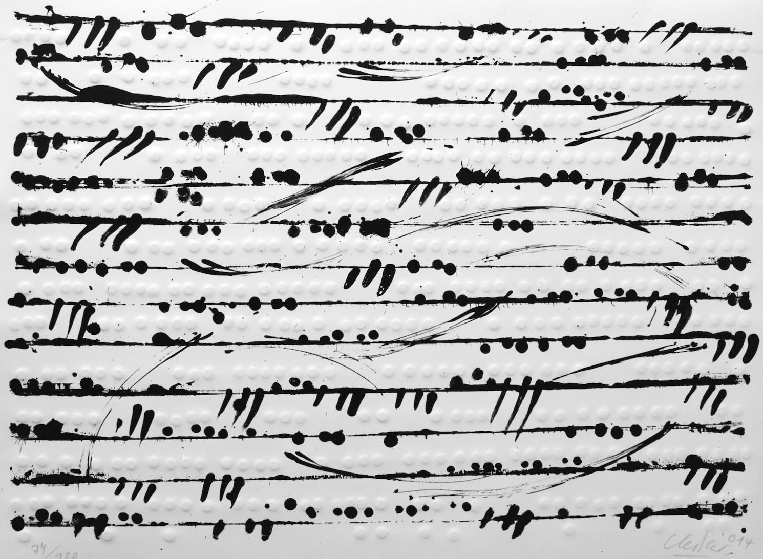 Günther Uecker Optische Partitur I,II,III, 2014 Lithographie, Prägedruck auf Büttenpapier 68,5 x 90 cm   27 x 35 1/2 in Expl.74/100
