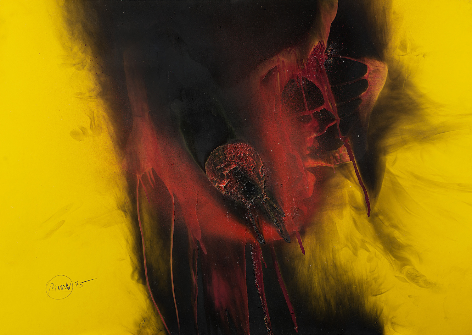 Otto Piene, untitled, 1975, acrylic fire and smoke on cardboard, 70 x 100 cm