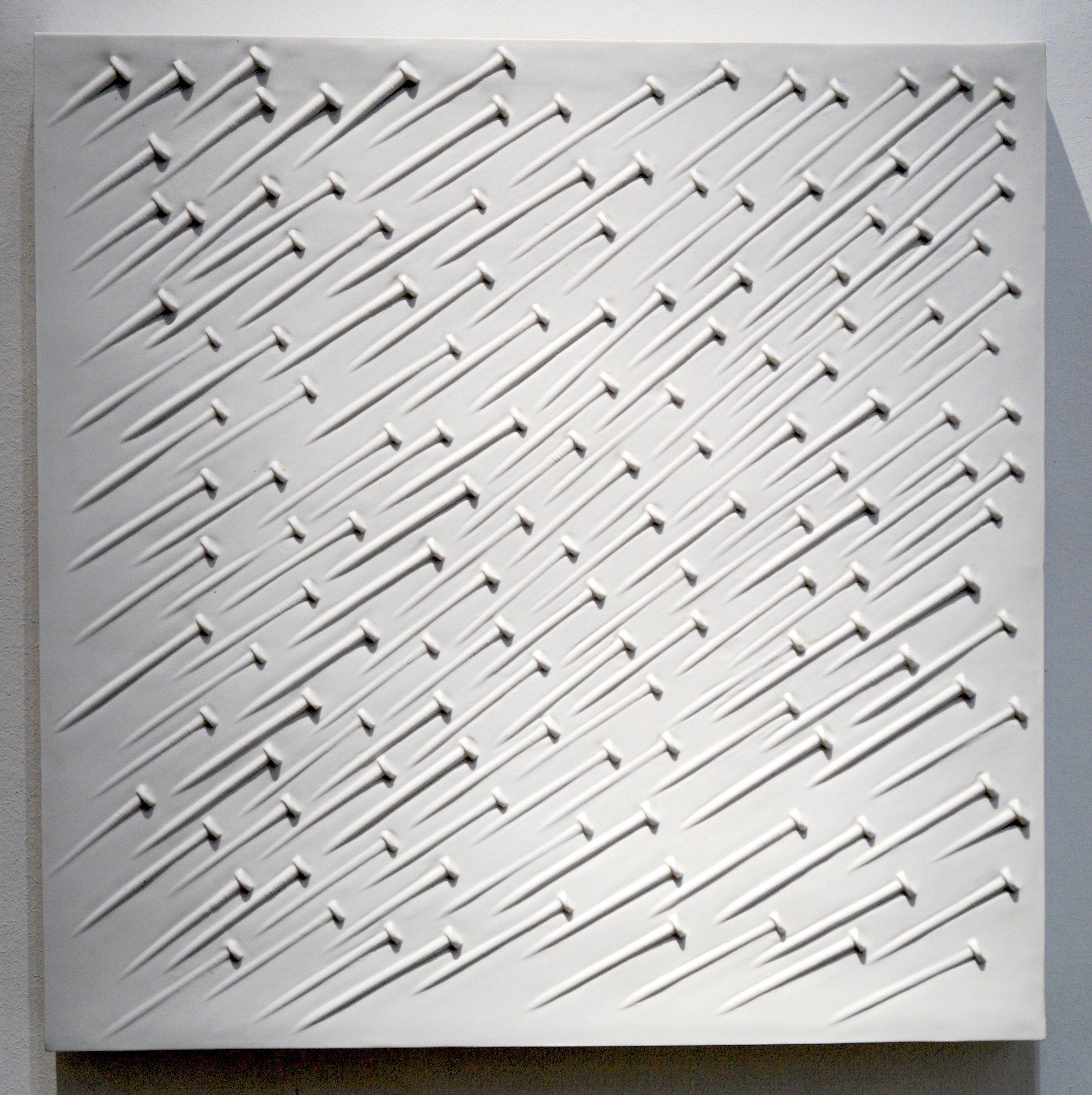 Günther Uecker Weißer Regen, 1968 Porzellan Relief 44,5 x 44,5 x 5 cm | 17 1/2 x 17 1/2 x 2 in 100 Expl. GU/E 18