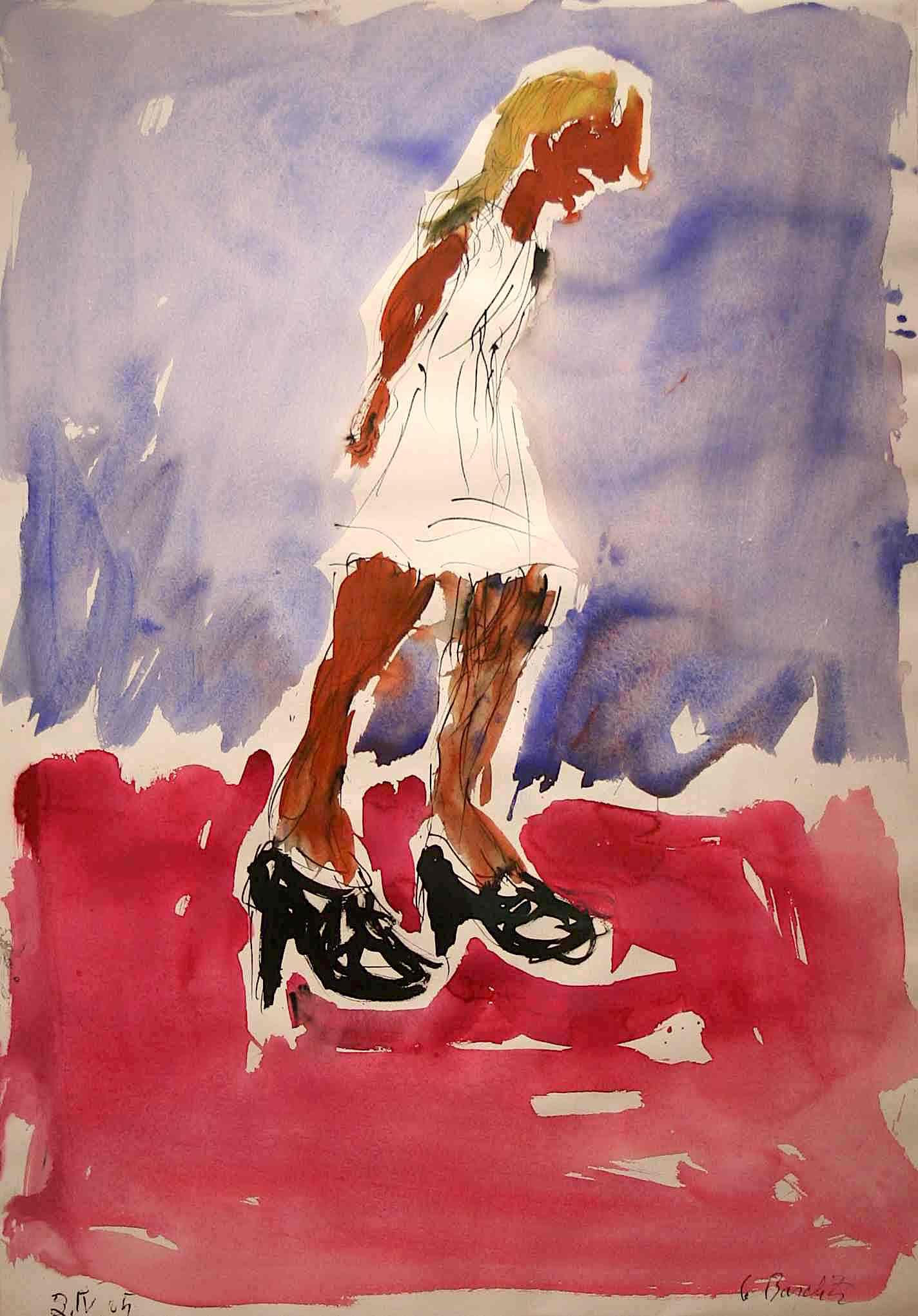Georg Baselitz Ohne Titel, 2005 Aquarell und Tuscheauf Papier 100 x 70 cm | 39 1/3 x 27 1/2 in gerahmt: gerahmt | framed GB/P 1