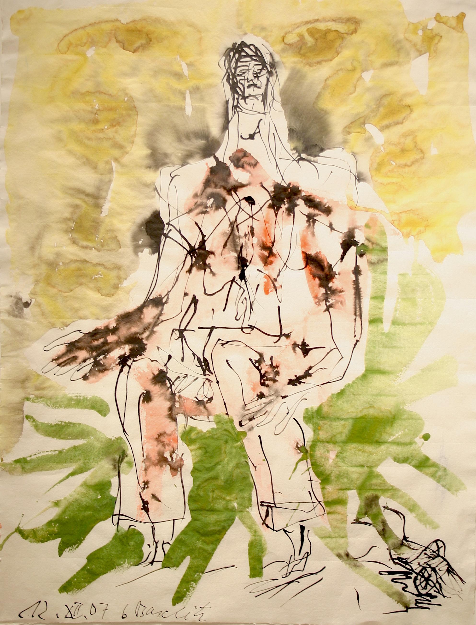 Georg Baselitz Hirte (Remix), 2007 Tusche und Aquarellauf Bütten 66,8 x 50,8 cm | 26 1/3 x 20 in GB/P 4