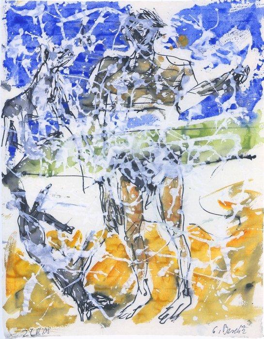 Georg Baselitz B. für Larry, 27.III.08 Tuschfeder Aquarell und Deckweiss auf Papier 66,6 x 49,1 cm | 26 1/4 x 19 1/3 in GB/P 9