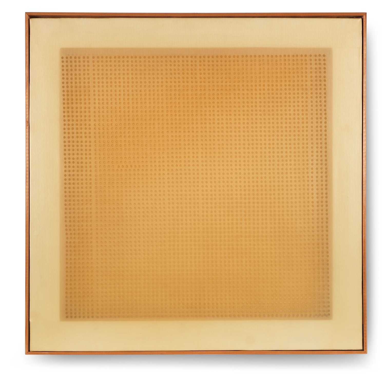 Dadamaino Volume A Moduli Sfasati, 1960 Three perforated and superimposed plastic canvases on two wooden stretcher 60 x 60 cm | 23 2/3 x 23 2/3 in framed: 81 x 81 cm | 32 x 32 in DAD/O 2