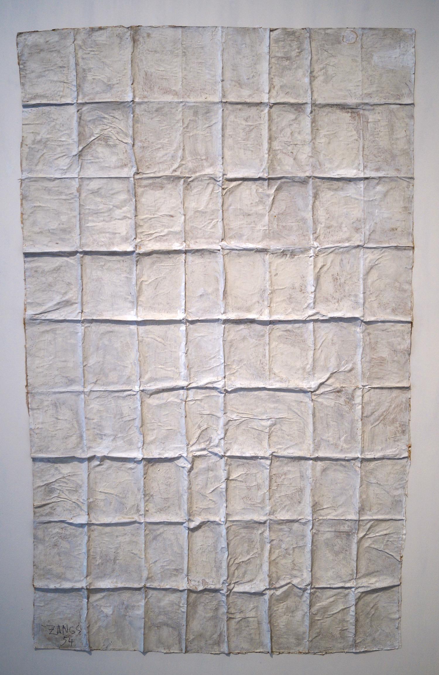 Herbert Zangs Folding, 1970er Jahre Folding of brown wrapping paper, mounted on brown wrapping paper, white painted. 133 x 80 cm | 52 1/3 x 31 1/2 in  HZ/M 4