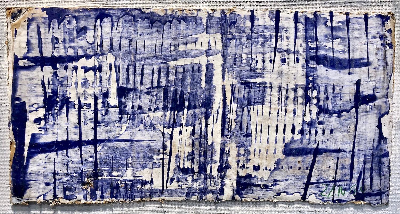 Herbert Zangs Screen Wiper, Undated (1957) Blue paint worked with a screen wiper, on white primed corrugated cardboard. 20 x 39,5 cm | 7 3/4 x 15 1/2 in HZ/M 5