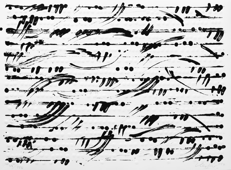 Günther Uecker , Optische Partitur I,II,III, 2014
