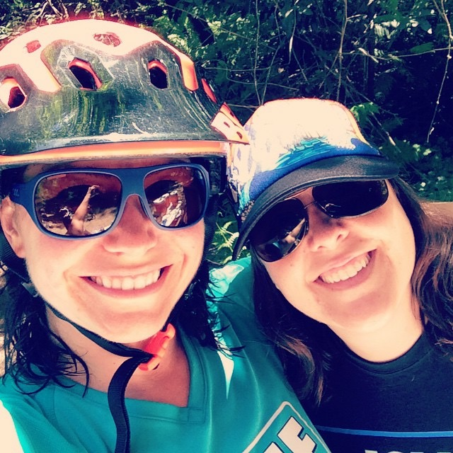Heather Cooper (left) and Alyson at a california enduro series race