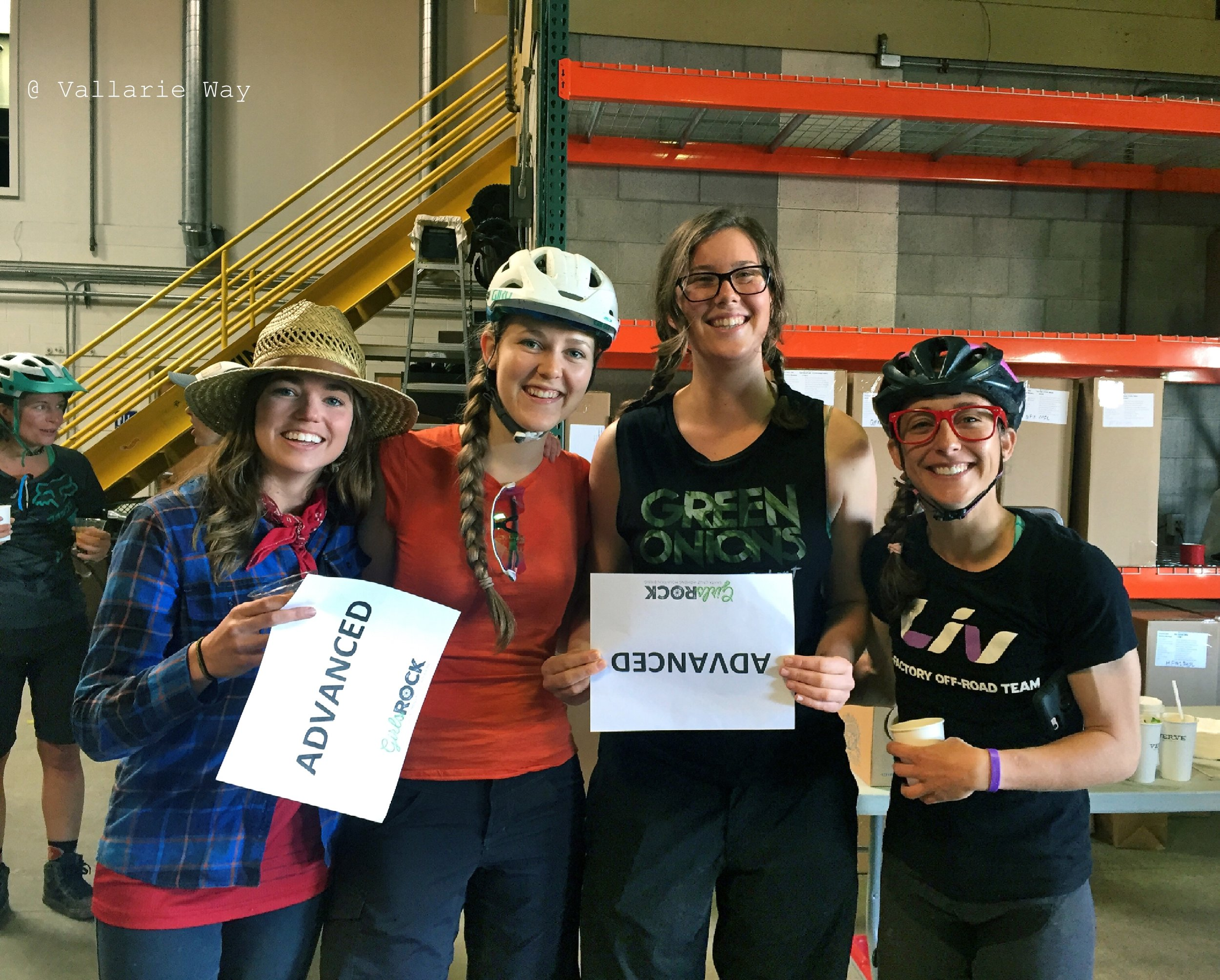"Tina West, second from the right. ""Participating in Girls Rock events has been one of my favorite volunteer opportunities. I would encourage any rider who has knowledge of local trail systems to sign up to volunteer as a guide or sweep."""