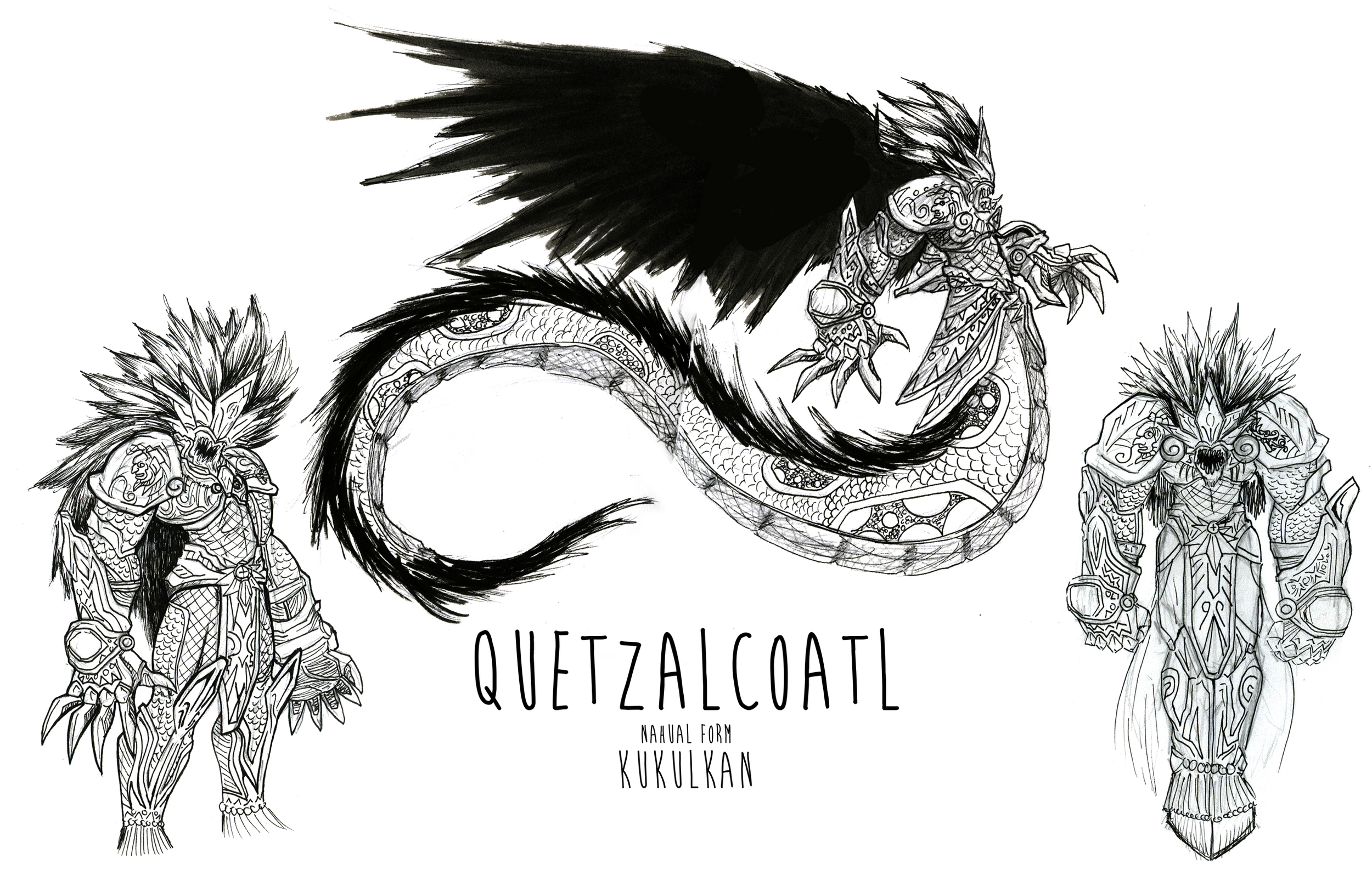 The lord Quetzalcuatl in his Nahual (beast) form , the Plumed Snake.