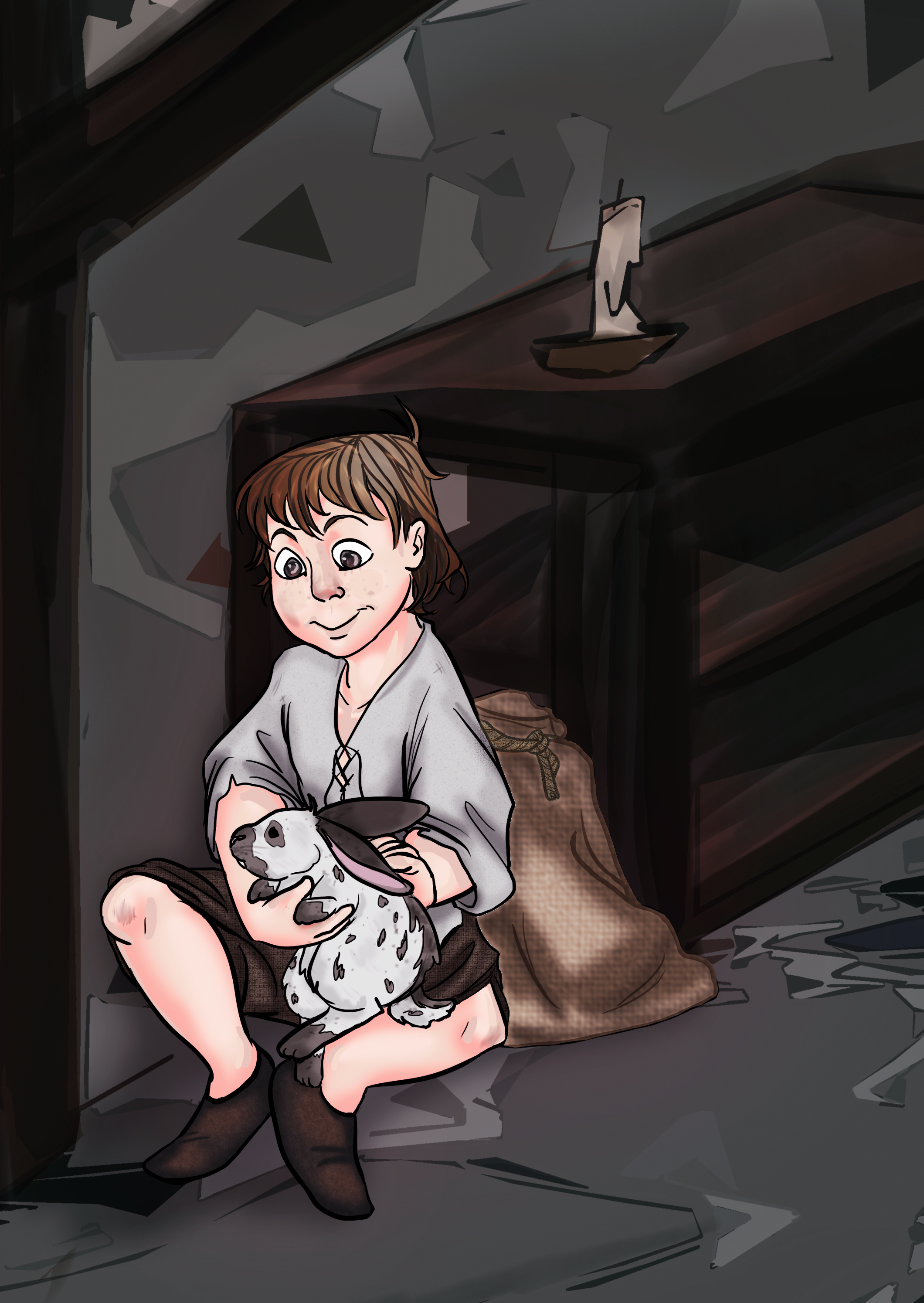 'A Boy and his Rabbit' by Flags. For more of their work, visit their art blog on Tumblr,  @thecreepingkid