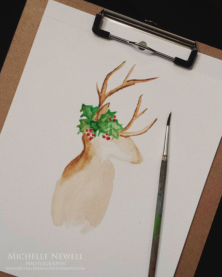 Watercolor Reindeer by Michelle Newell