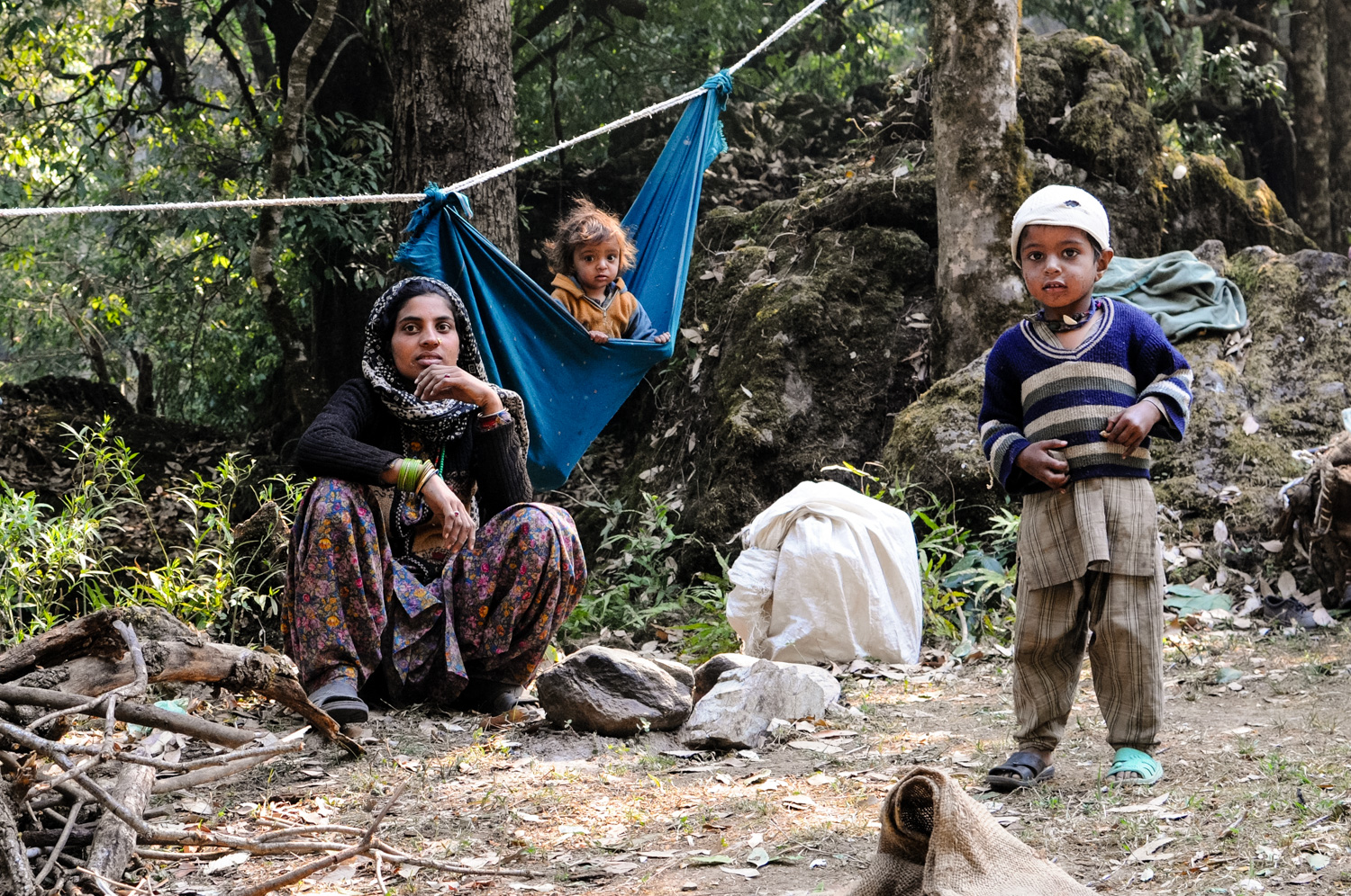 Akloo, with Karim and Hasina, in a relaxed camp in the Dunda Mandal Hills