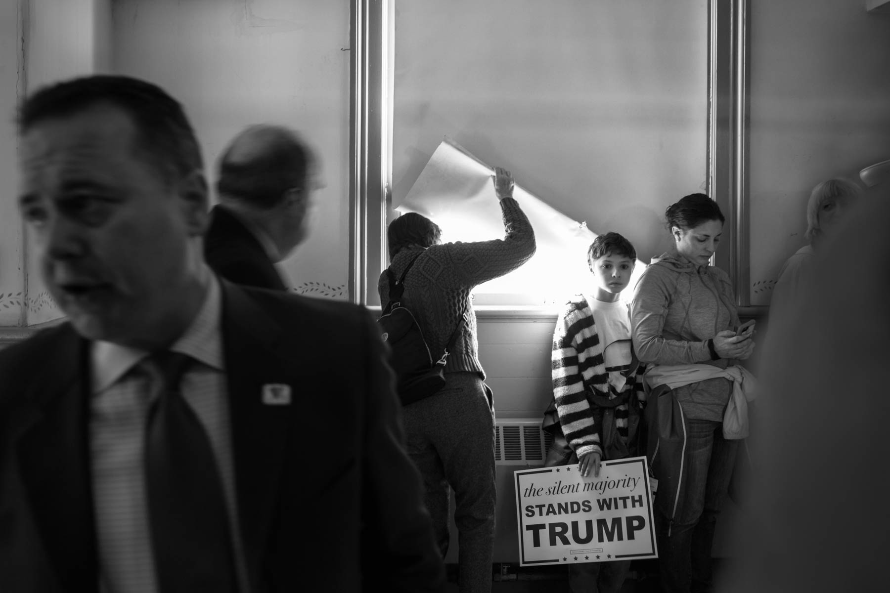 04 Feb 2016 - Exeter, New Hampshire - Supporters are waiting for Republican presidential candidate Donald J. Trump to arrive for a speech in Exeter Town Hall.