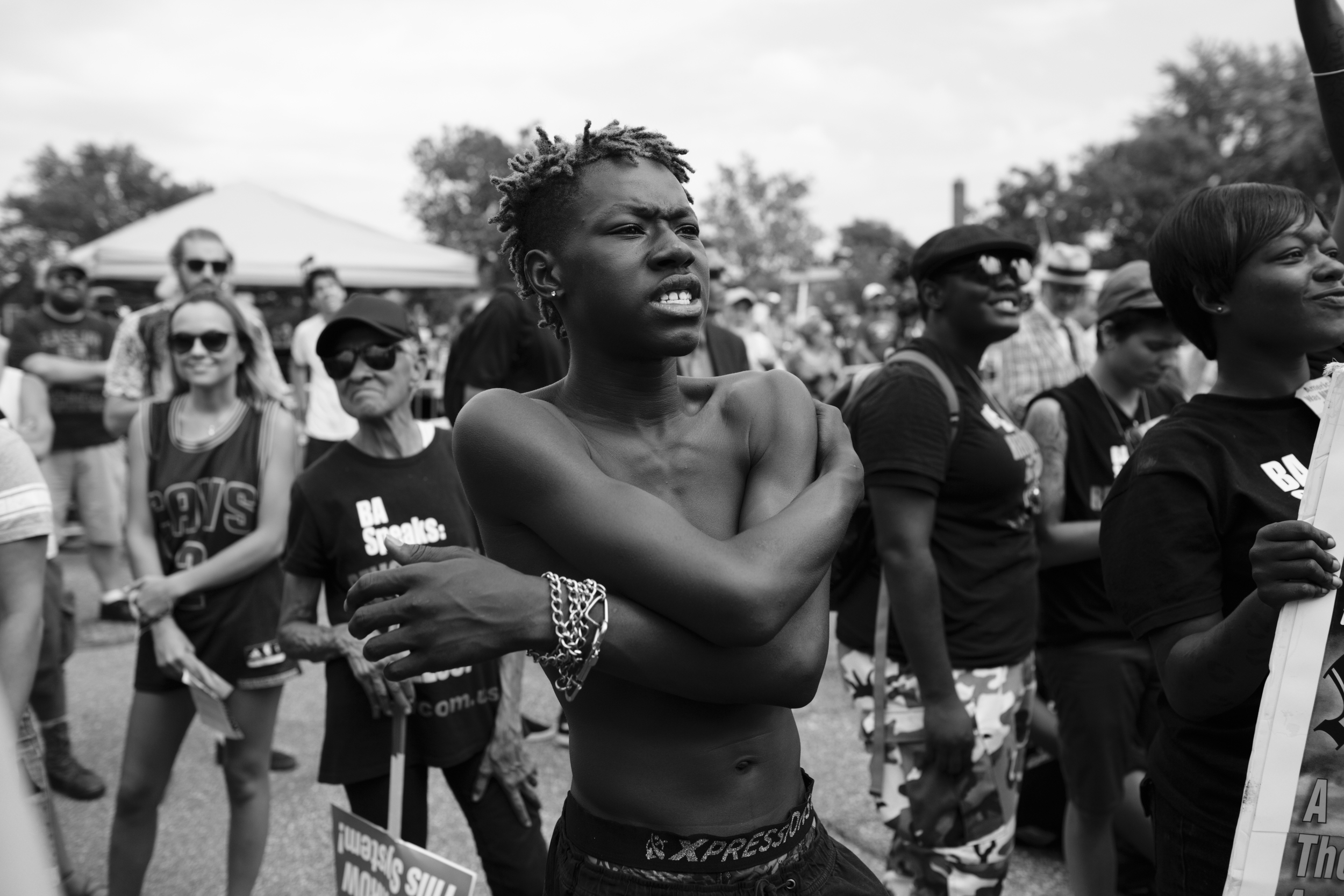 """18 July 2016 - Cleveland, Ohio - REVCOM activist Kael is listening to a speech at the """"End Poverty"""" rally in East Cleveland. The Republican National Convention kicked off on Monday and was surrounded by small and peaceful protests.Photo: Cédric von Niederhäusern"""