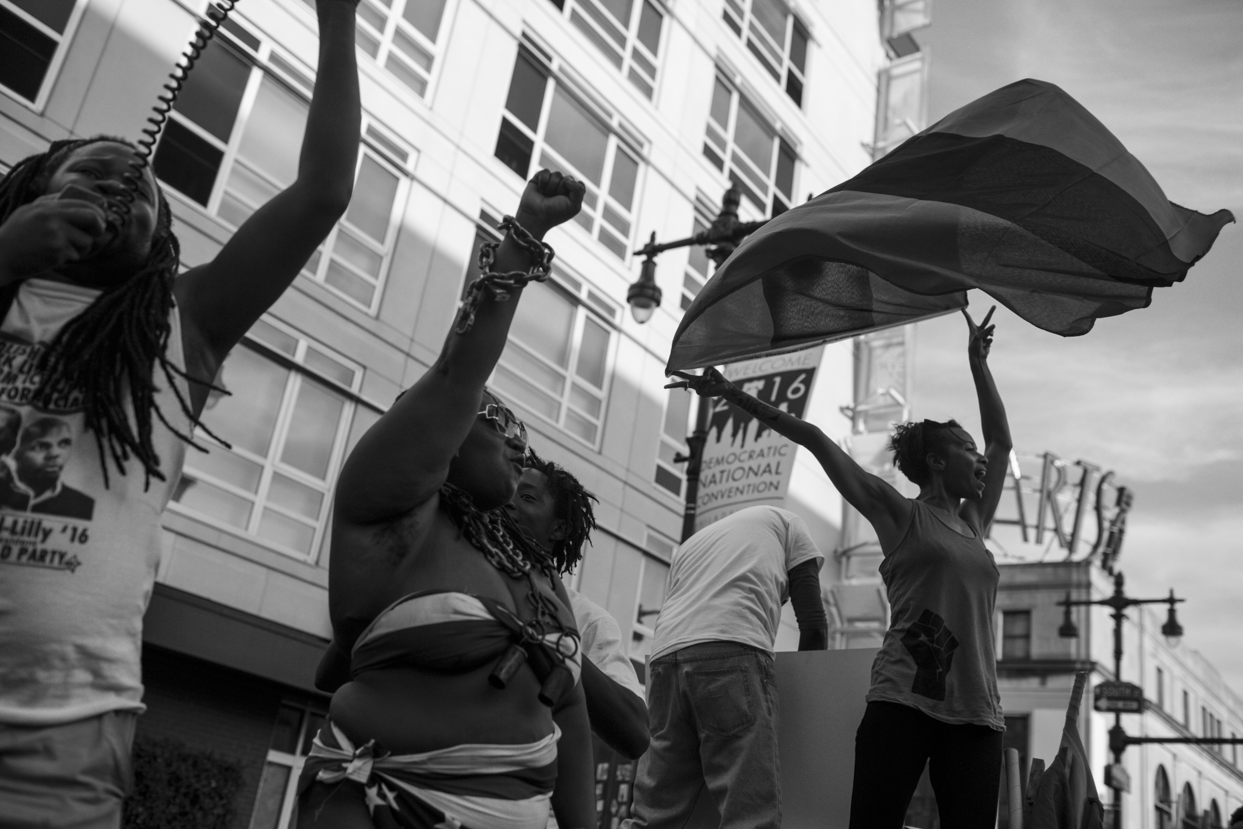 """26 July 2016 - Philadelphia, PA - Activists from the Black Lives Matter movement are guiding the """"Shut Down the DNC!"""" march and holding speeches. Photo: Cédric von Niederhäusern"""