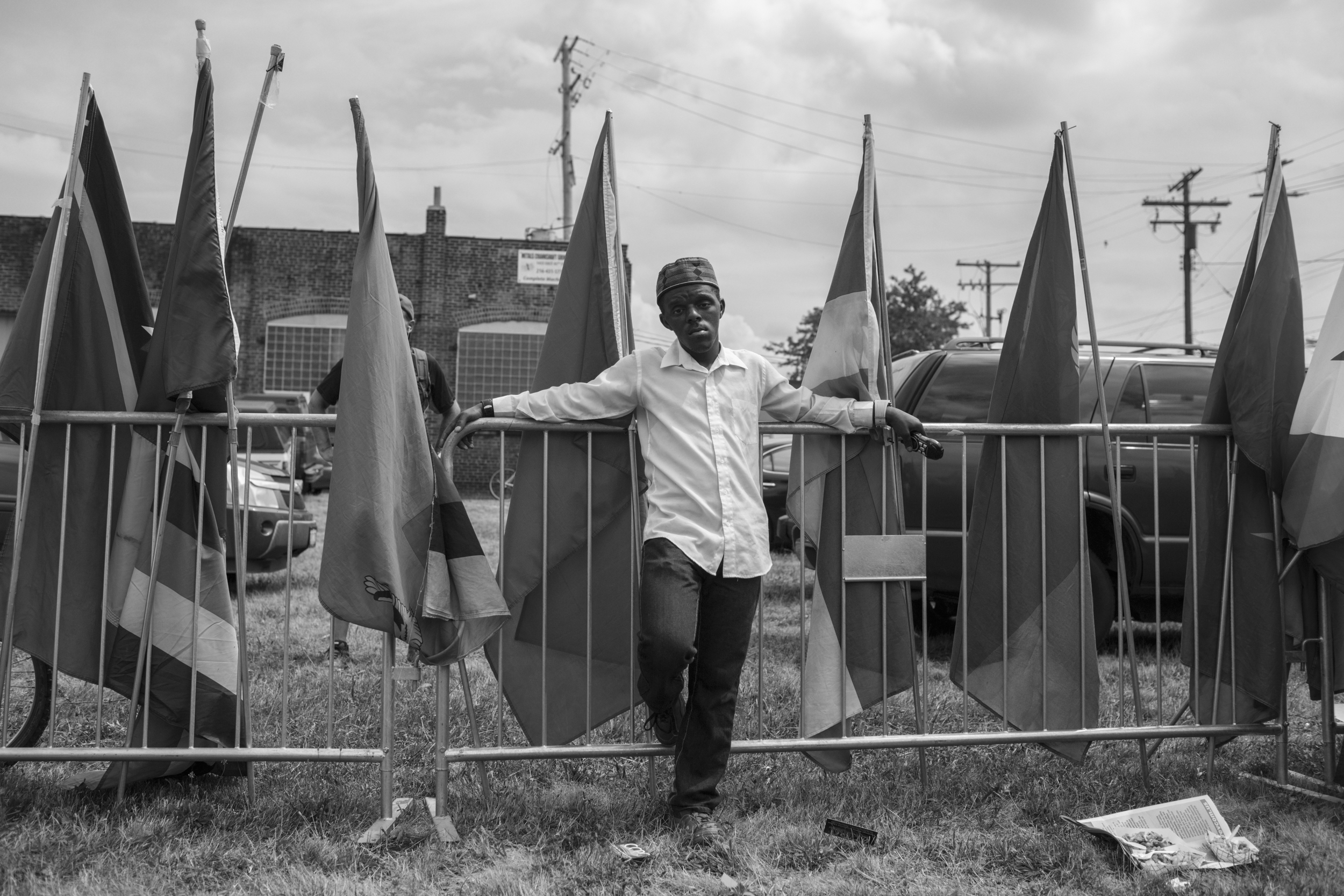 """18 July 2016 - Cleveland, Ohio - Enwar Jr., activist with """"Peace in the Hood"""", is attending the """"End Poverty"""" rally in East Cleveland. The Republican National Convention kicked off on Monday and was surrounded by small and peaceful protests.Photo: Cédric von Niederhäusern"""