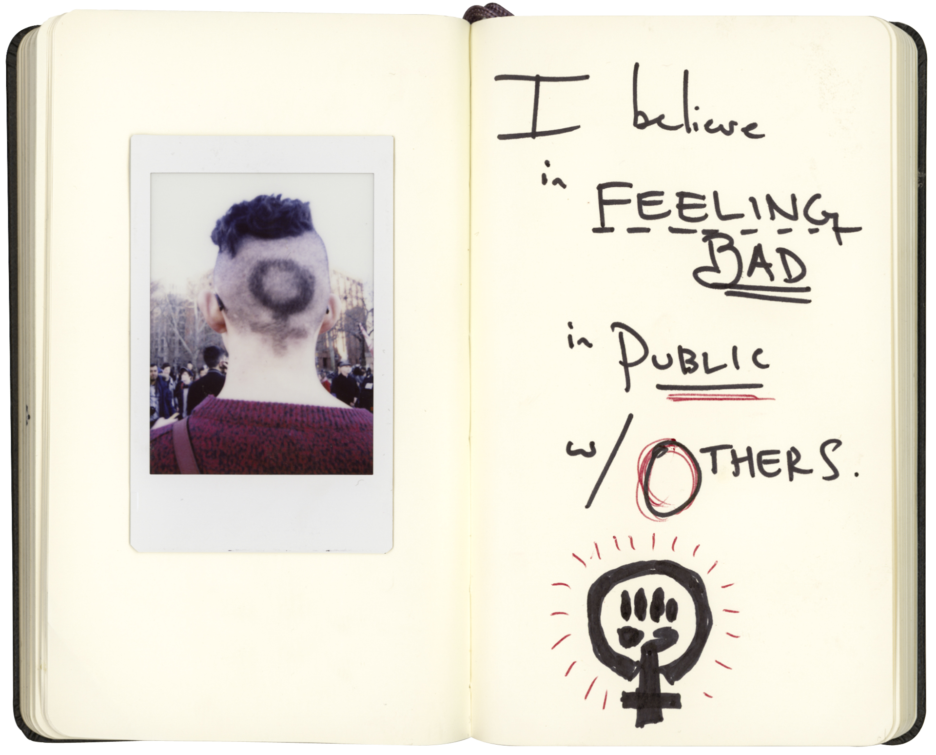 """08 Mar 2017 - Washington Square Park, New York - International Women's DayAndrea Long Chu, 24, Ocean Hill (Brooklyn), Ph.D. student""""I believe in feeling bad in public w/ others.""""Credit: Cédric von NiederhäusernINFO:Notebook digitally altered to fit layout dimensions"""