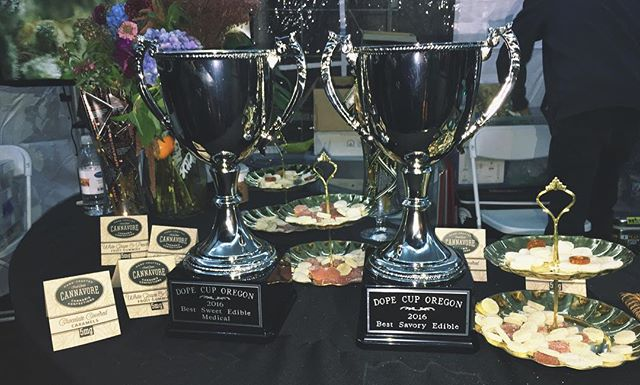 Honored to take home awards for best savory edible and best sweet edible medical at the #DopeCup2016 Shout out to the Dope Cup Crew for making last night a great experience for everyone involved @tjsorganicgardens @tjsprovisions & @reeferdistribution Thank you to the chef Chris Foster #dopecup2016 #edibles #savory #sweet #eatcannavore #cannavore #tjsorganicgardens #artisanedibles #handcrafted #oregon