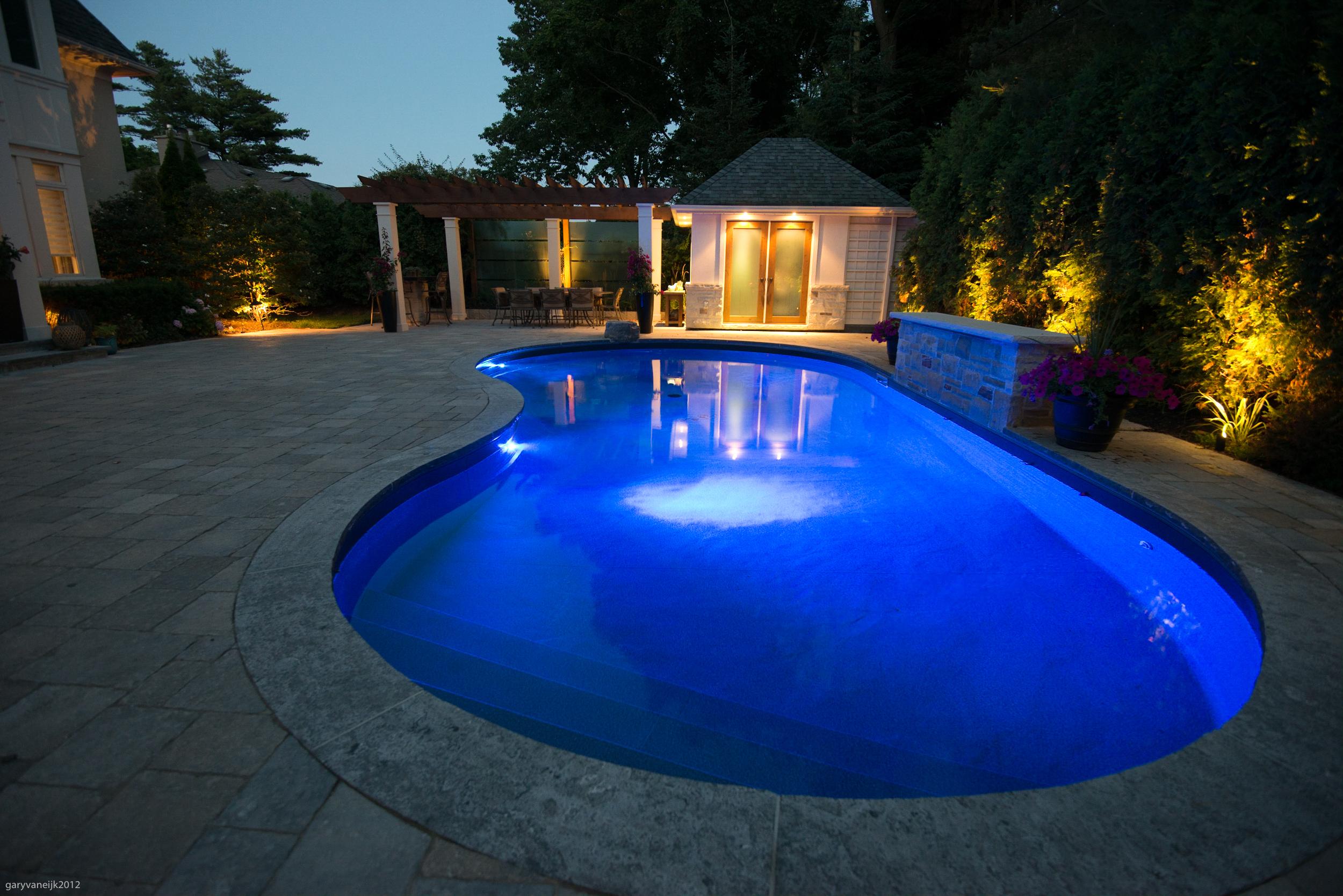 Renovated Pool at Night