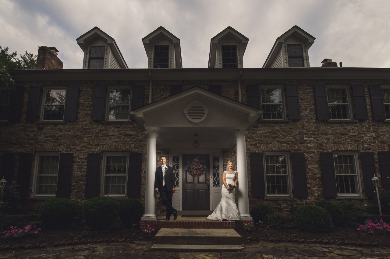 Front Porch Hundred Mile House Wedding Portrait