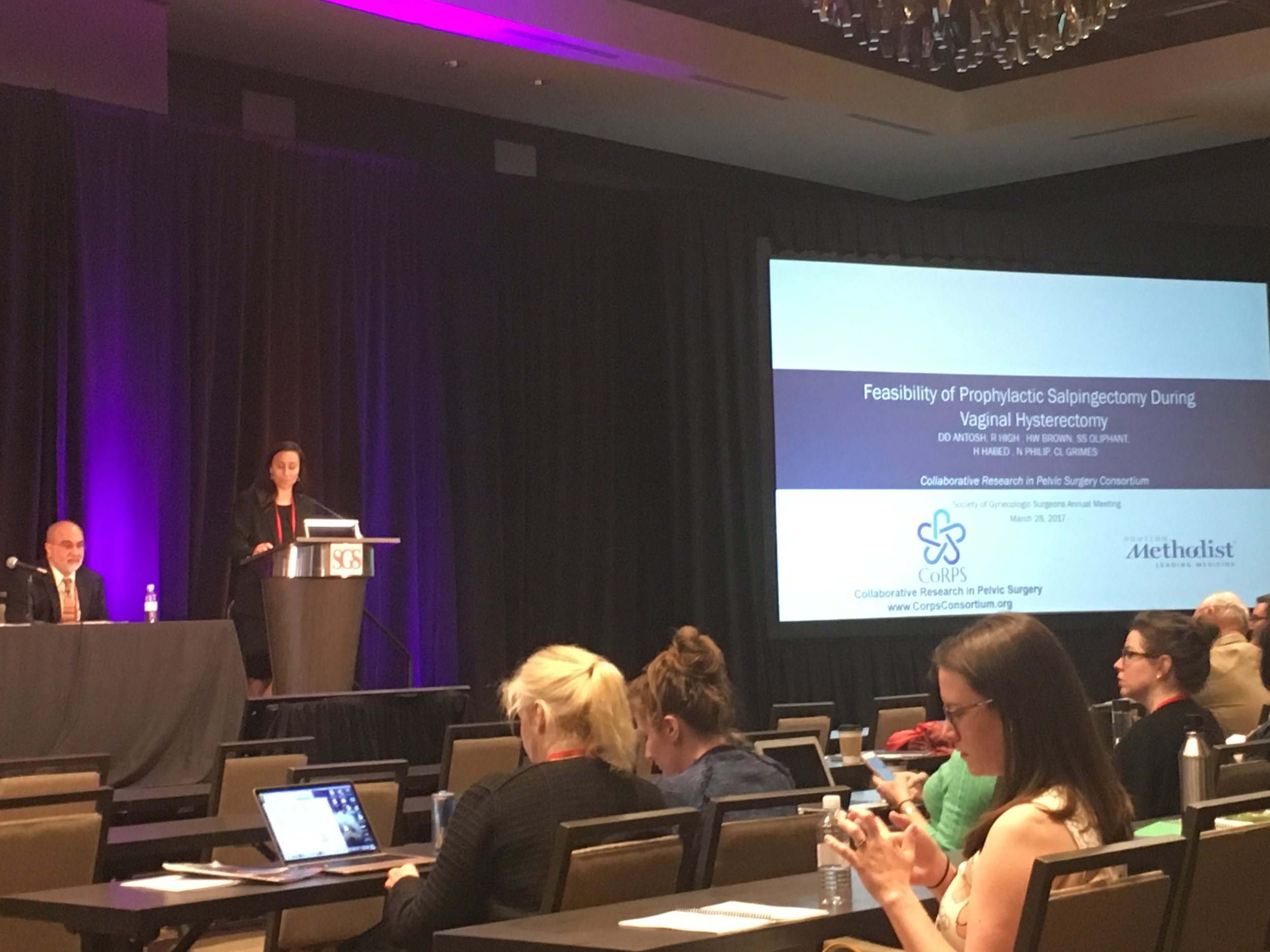 """Dr. Danielle Antosh presenting""""Feasibility of Prophylactic Salpingectomy During Vaginal Hysterectomy"""" @ SGS 2017, San Antonio, TEXAS"""