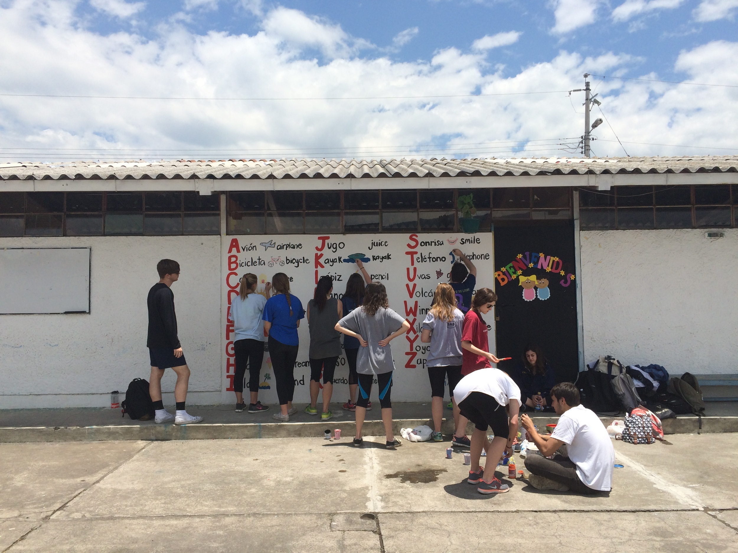 The Spring Break 2015 volunteers from Vanderbilt University that I led worked on various project during their time in Ecuador, including working on a mural at a local preschool.