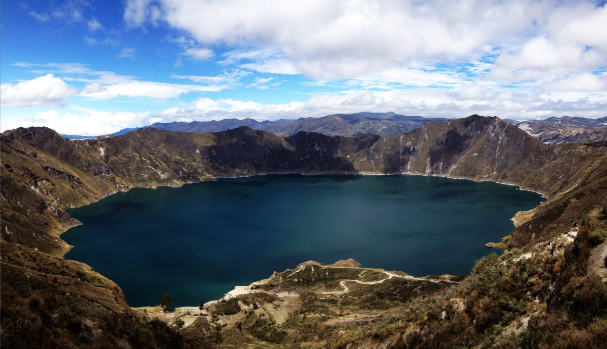 One of South America's most beautiful sights, the Quilotoa Crater Lake in Ecuador!