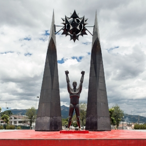 The Rumiñahui statue designed and constructed by Oswaldo Guayasamin located in downtown Sangolquí.