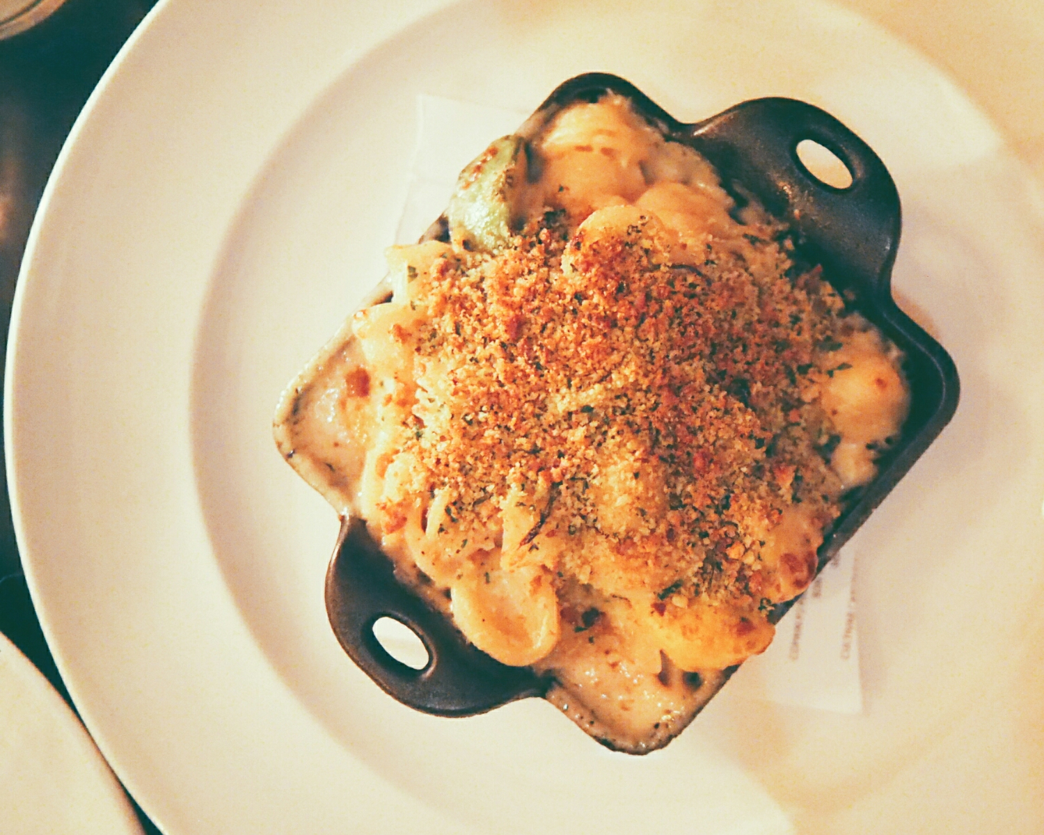 orchiette mac'n'cheese  with summer squash.