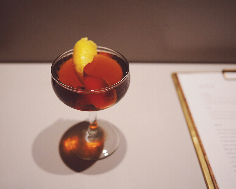 the gentleman : oloroso sherry, sweet vermouth, orange bitters.