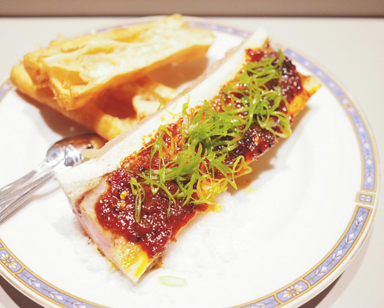 roasted bone marrow withgrilled chili jam, scallions.