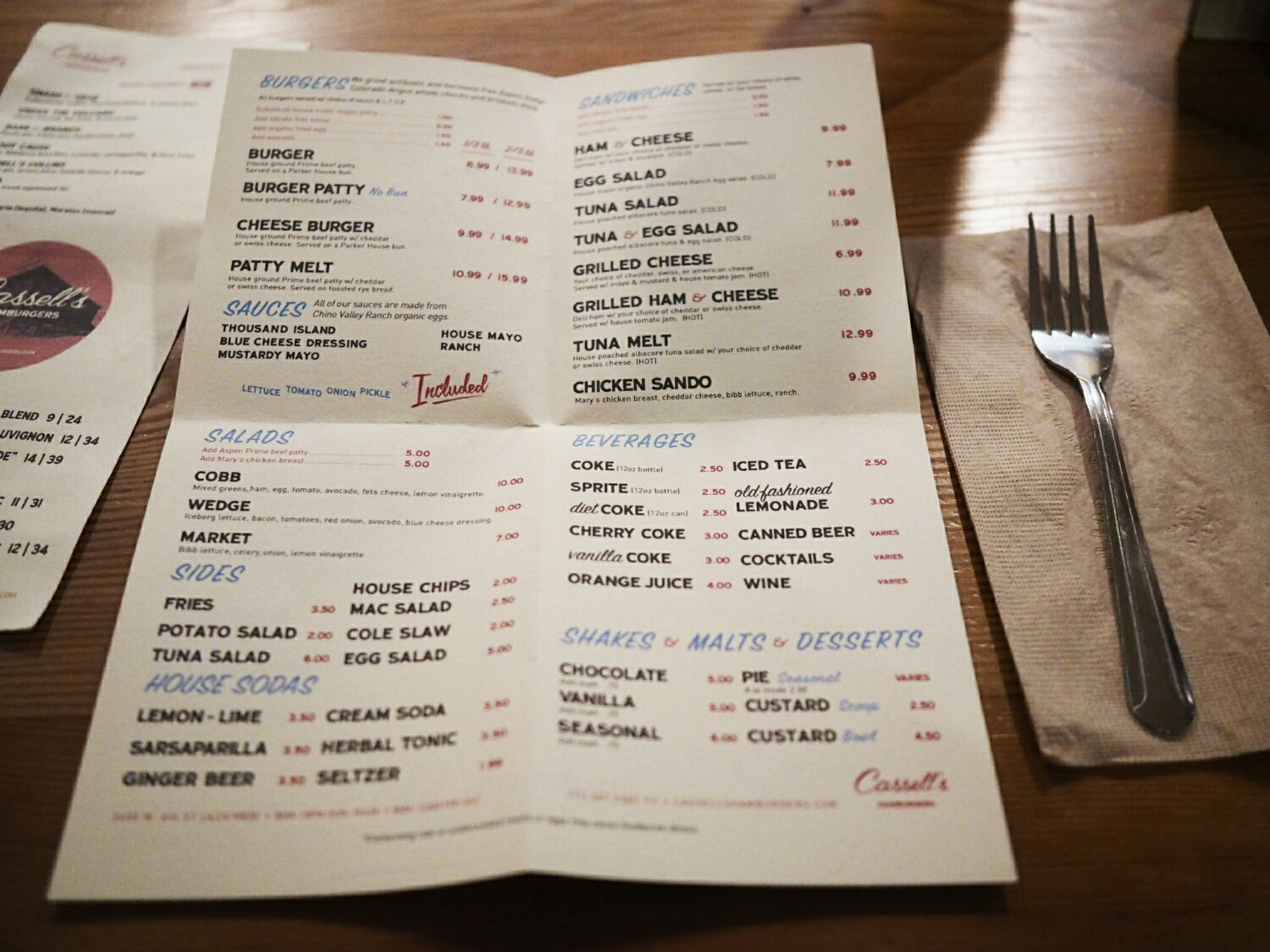 the adorably vintage-designed menu.