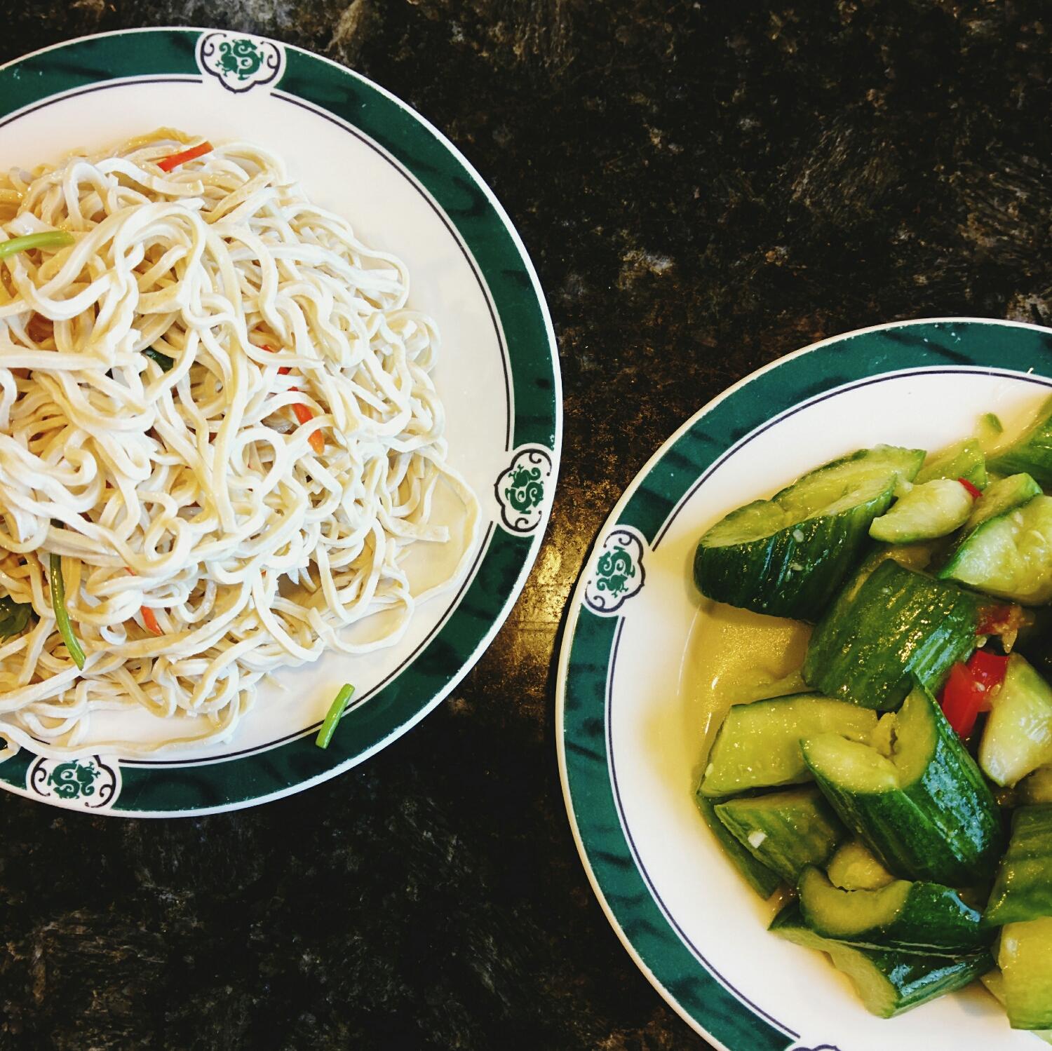 tofu noodles and cucumbers, my favorite cold appetizers.